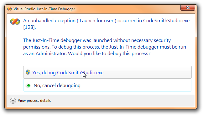 Visual Studio Just-In-Time Debugger
