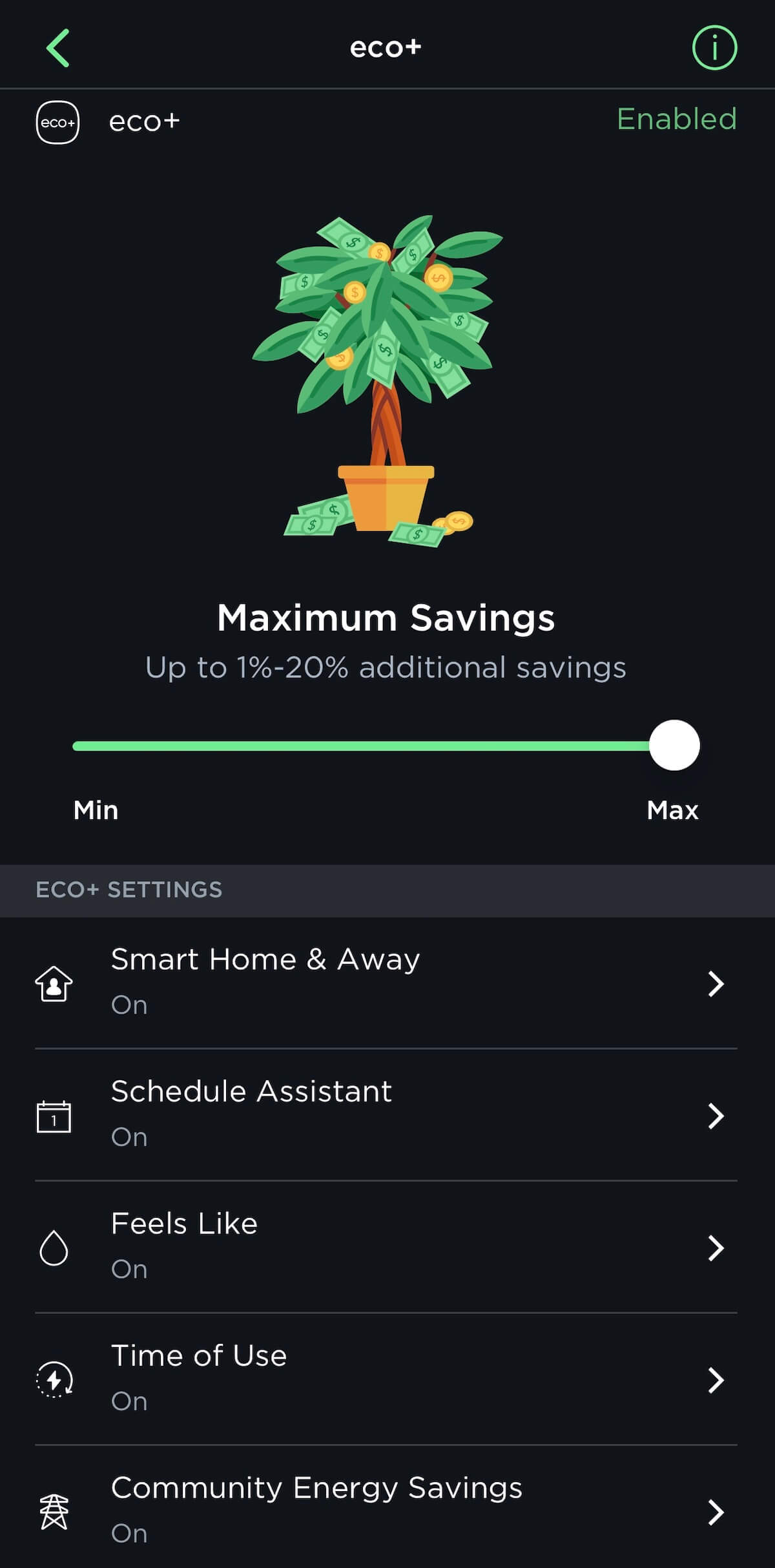 ecobee eco plus time of use