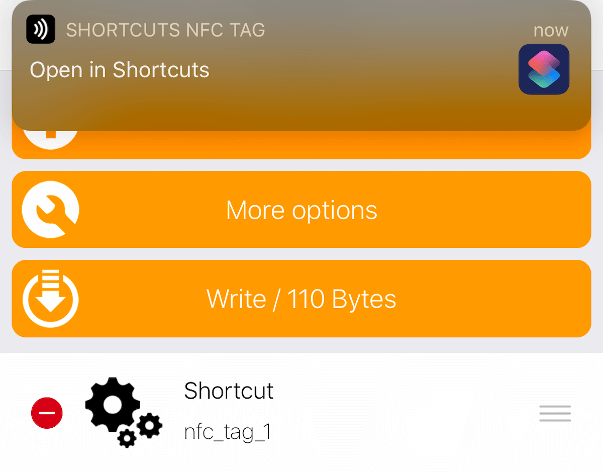 Open in ShortCuts NFC Tag