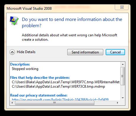 Visual Studio Send Information
